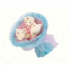 Букет из мягких игрушек Медвежата розово-голубого цвета