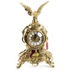 Часы из бронзы с маятником Орёл 35х21 см, золотые