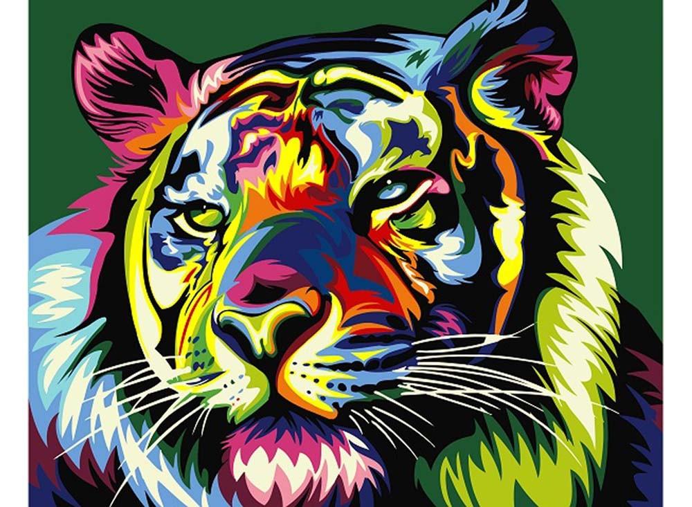 Картины по номерам «Королевский радужный тигр»