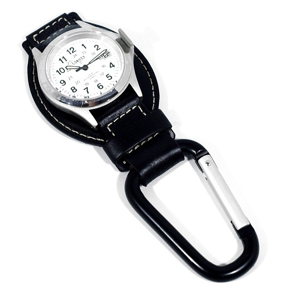 Часы-карабин Dakota Watch на кожаной подложке