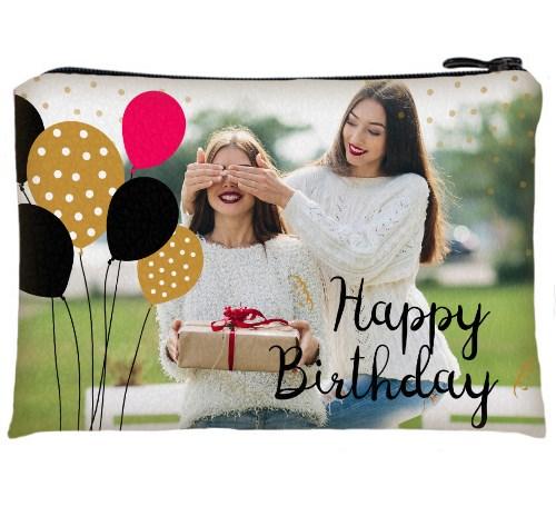 Косметичка с вашим фото «Happy Birthday»