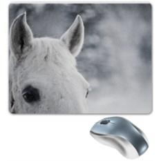 Коврик для мышки Белая лошадь в снегу