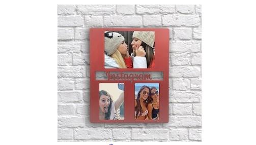 Красная деревянная рамка для фото Инстаграм