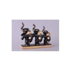 Черная фарфоровая фигурка Три слона Hangzhou Jinding