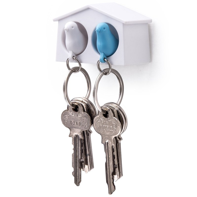 Держатель-брелок для ключей двойной Mini Sparrow бел/голубой