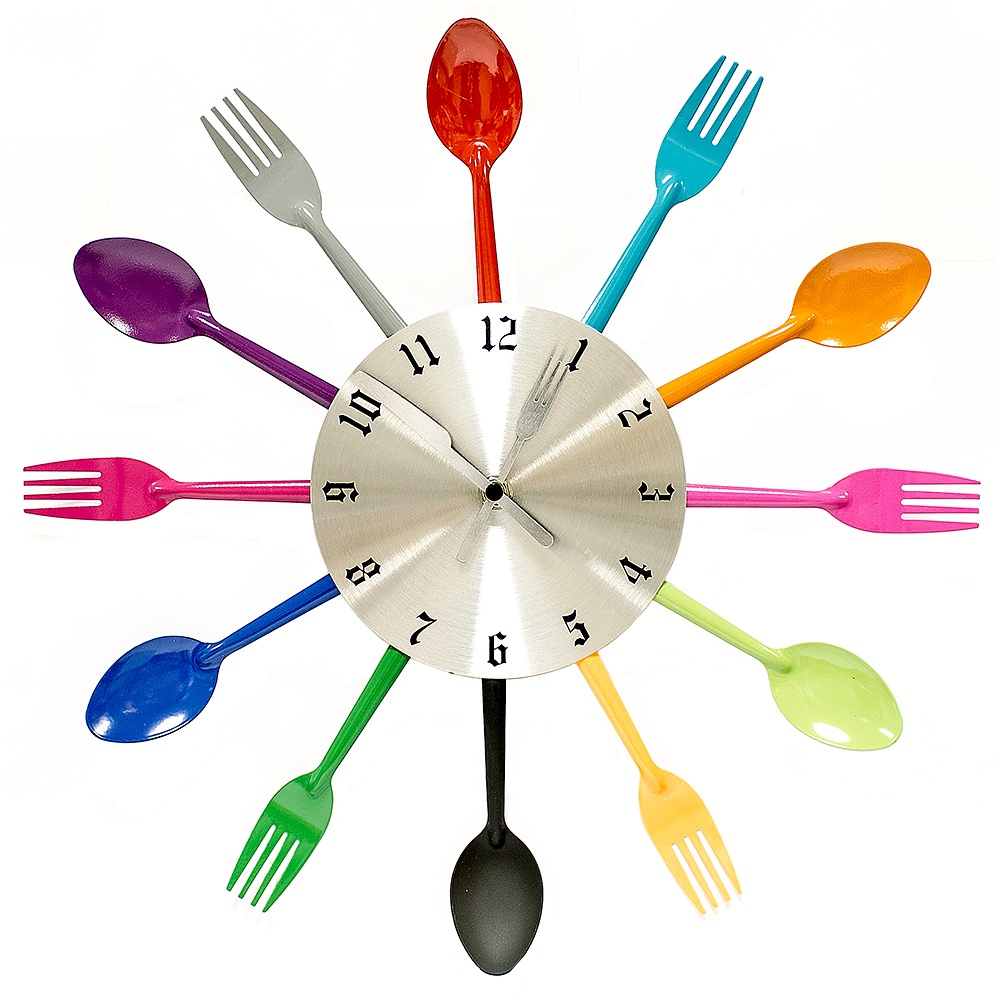 Часы настенные Ложки и вилки цветные