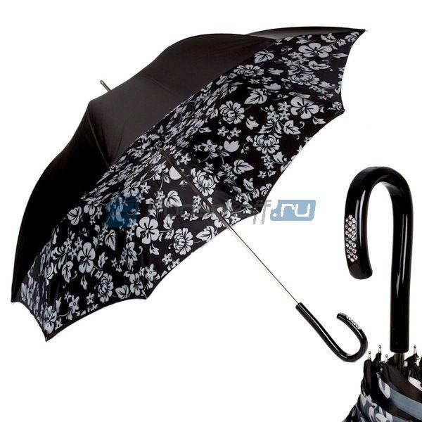 Зонт-трость Pasotti Nero Tesse Plastica Swarovski