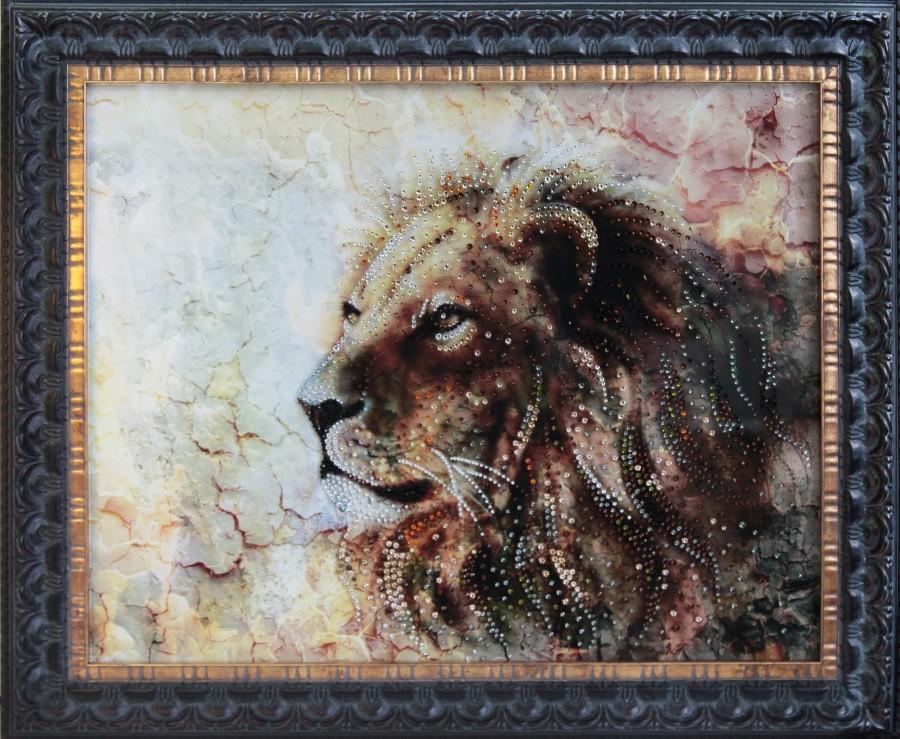 Картина с кристаллами Swarowski Мраморный лев