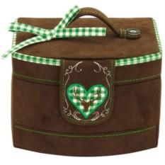 Коричневая шкатулка для украшений с зеленой тесьмой