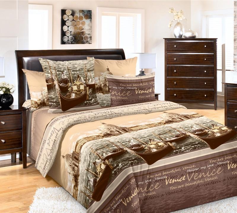 Комплект постельного белья Венеция коричневый (перкаль)