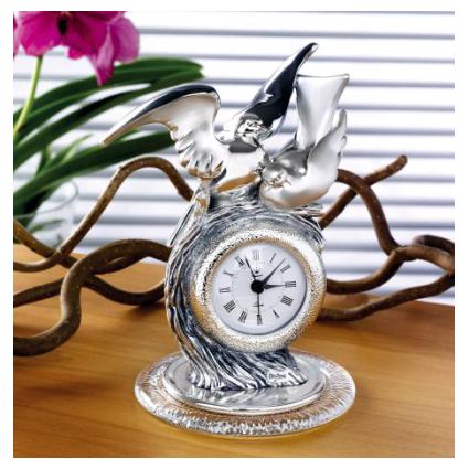 Посеребренные настольные часы Ottaviani:Настольные часы Воркующие голубки, посеребренные, 17,5 см