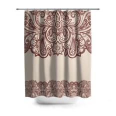 3D-штора для ванной Цветочное обрамление