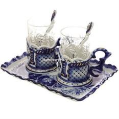 Чайный набор на 2 персоны с росписью гжель Подарочный