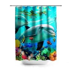 3D-штора для ванной Дельфины