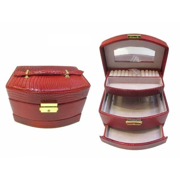 Красная шкатулка для украшений с двумя ящичками