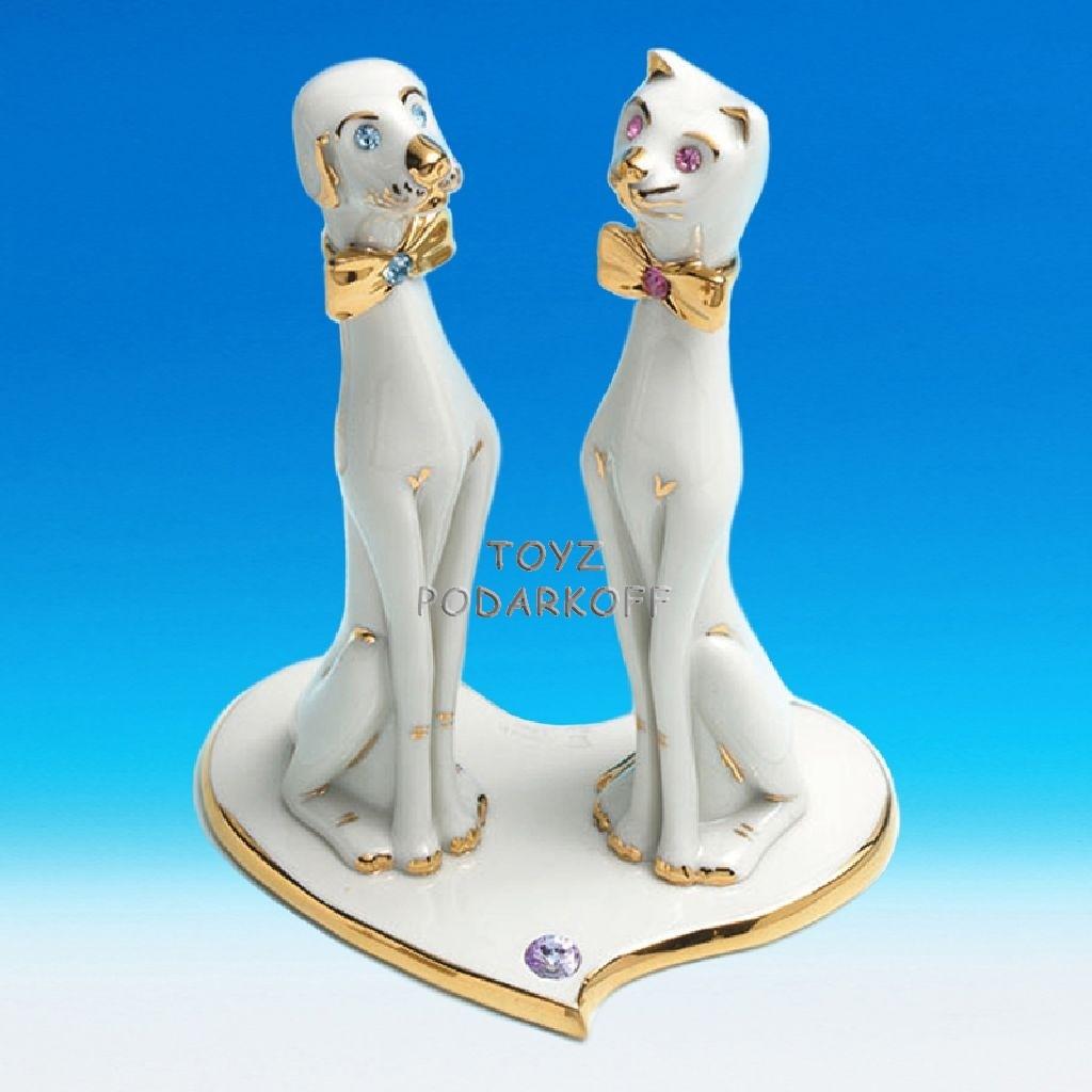 Статуэтка фарфоровая Кот и пес
