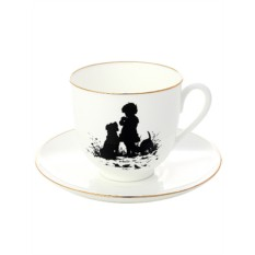 Фарфоровая кофейная чашка с блюдцем Друзья