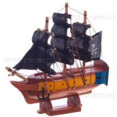 Корабль с черными парусами, длина 16см