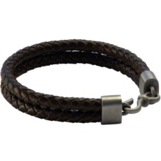 Двойной плетеный браслет из кожи