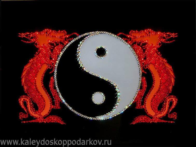 Картина с кристаллами Swarovski Инь-Ян с драконами