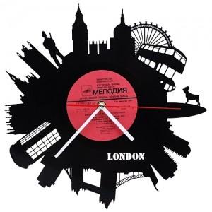 Настенные часы из виниловой пластинки «Лондон»