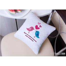 Именная подушка «Влюблённые пташки»
