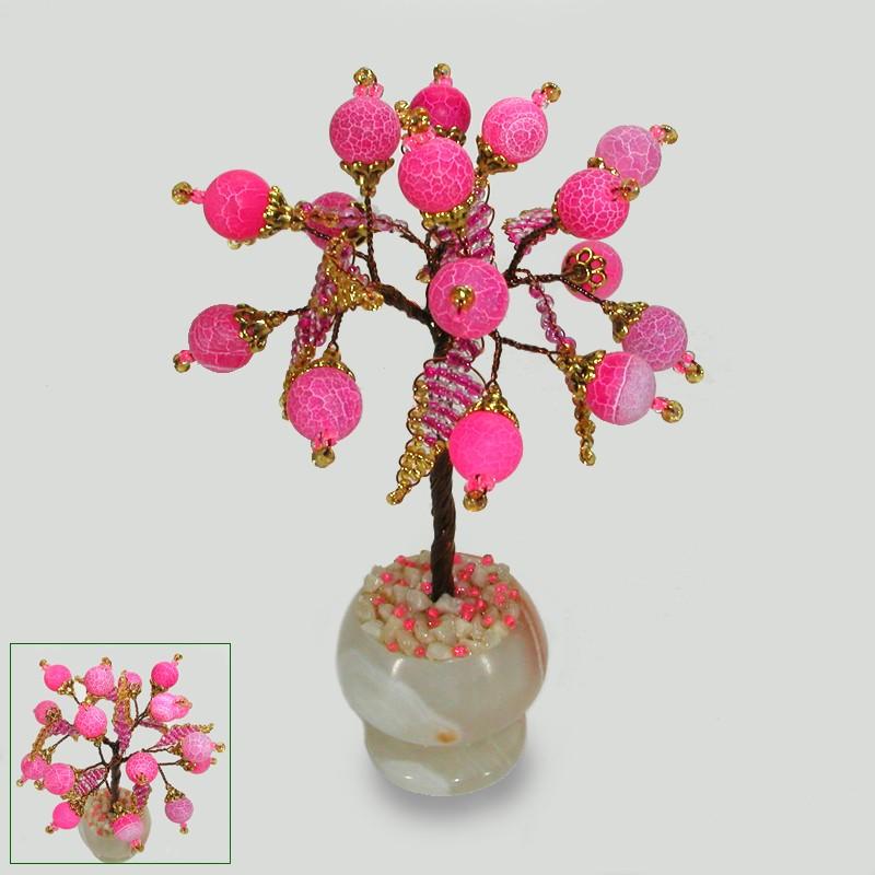 Миниатюрное дерево счастья из розового агата, ваза из оникса