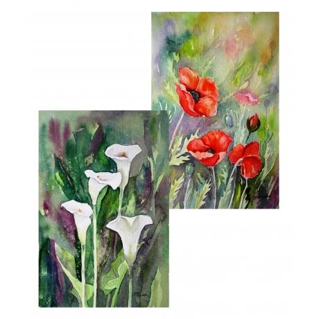 Две парные картины «Цветы»