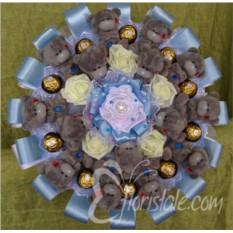Большой букет из мишек Тедди и Ferrero Rocher