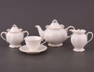 Чайный сервиз фарфоровый на 6 персон, 15 предметов