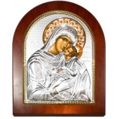 Сладкое лобзание. Икона Божьей Матери в серебряном окладе.