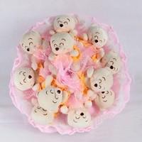 Букет из игрушек Спящие мишки в нежно-розовом