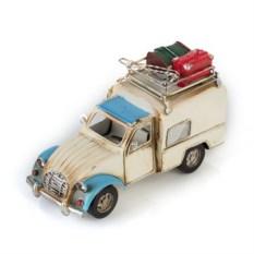 Ретро-модель Белый с синим авто с фоторамкой и подставкой