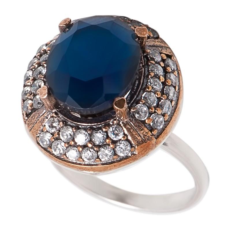 Перстень с цирконами, сапфиром