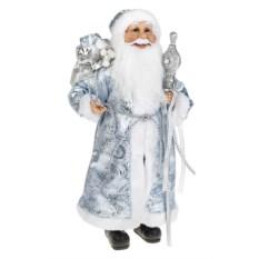 Бело-голубое новогоднее украшение Дед Мороз с посохом