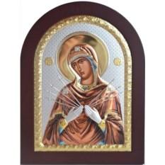 Семистрельная икона Божьей Матери в серебряном окладе