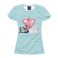 Голубая женская футболка День святого Валентина