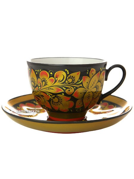 Чайная пара с росписью Золотая кудрина на черном фоне