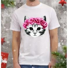 Мужская футболка Котенок и розы