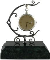 Серебряные настольные часы Фантазия, на мраморе