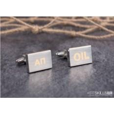 Глянцевые запонки «OIL» с гравировкой