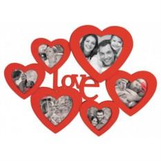 Мультирамка с вашим фото Love (цвет — красный)