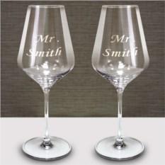 Пара бокалов для вина с гравировкой Рислинг