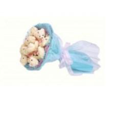 Розовый с голубым букет из мягких игрушек Медвежата (9 шт)