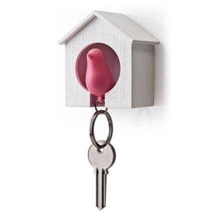 Брелок для ключей с держателем Sparrow, розовый с белым