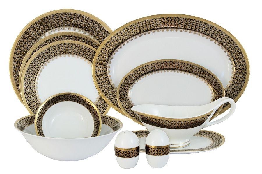 Обеденный фарфоровый сервиз Чёрное золото из 27 предметов
