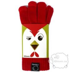 Красные полушерстяные сенсорные перчатки iGloves