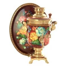 Набор: самовар на 3 литра Жостовские цветы и поднос