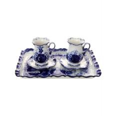 Кофейный набор с росписью Гжель Утренний кофе