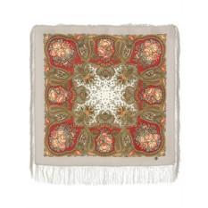 Кремовый Павлопосадский платок Сольвейг